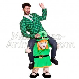 Buy cheap Leprechaun Patrick's Day Girl riding mascot costume. Leprechaun mascot costume.